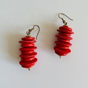 Vintage Red Wooden Earrings